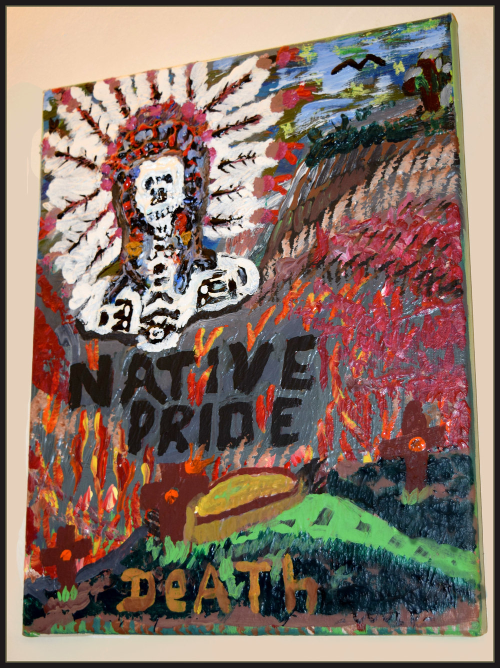 Native Pride:  Death Danny Cook Acrylic on Canvas 1x17 size photo print  $35