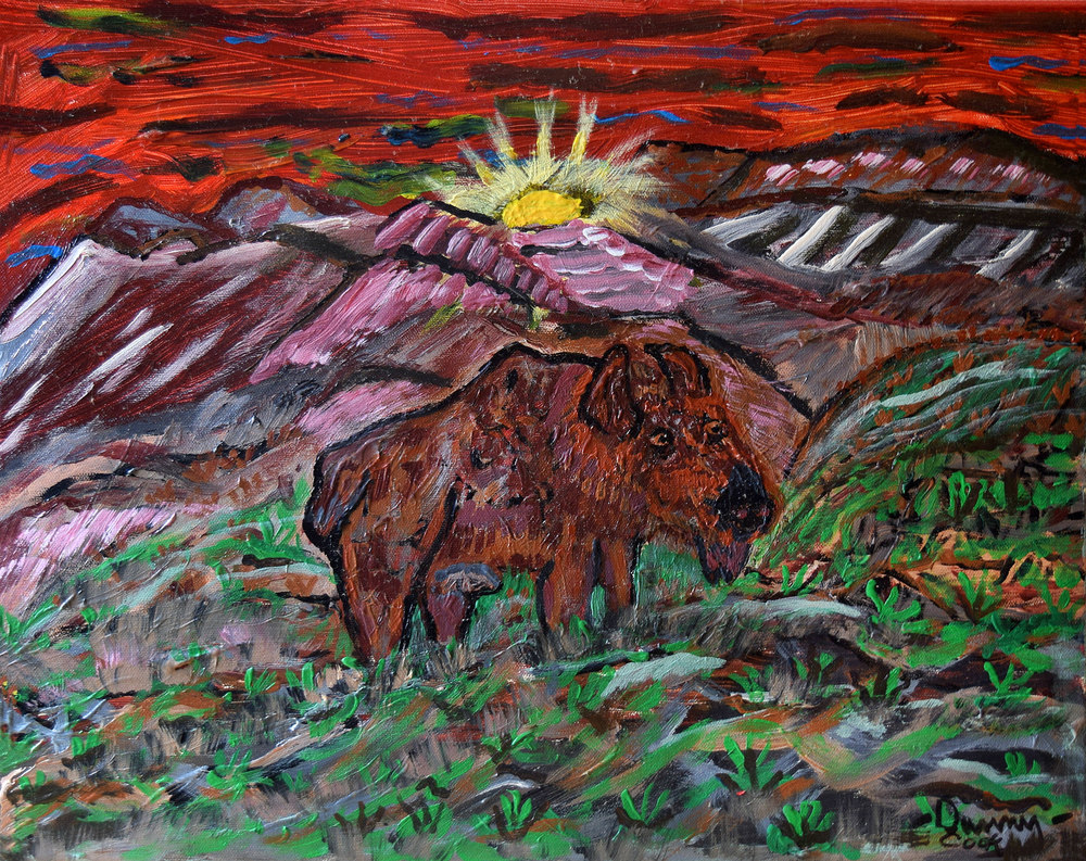 Moose Wolf Danny Cook Acrylic on Canvas 11x17 size photo print