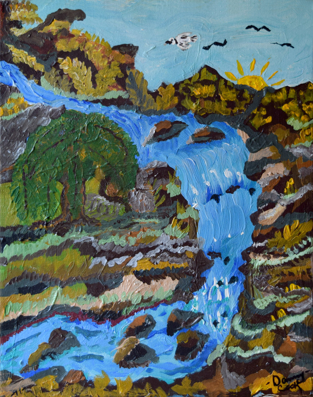 Waterfall Danny Cook Acrylic on Canvas 1x17 size photo print $35
