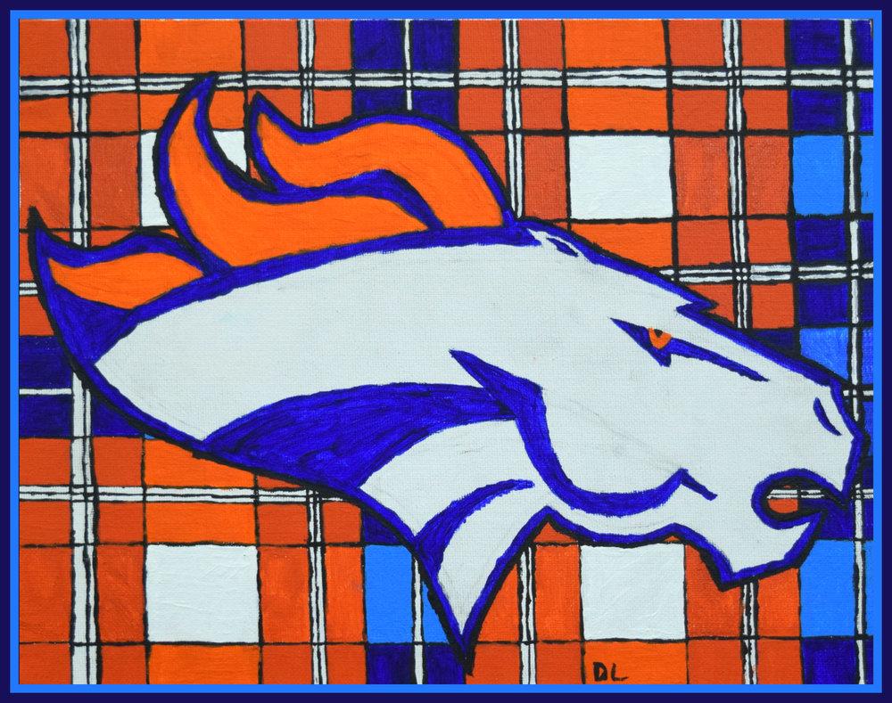 Dustin Landuyt Denver Broncos 2016 Acrylic on canvas, 8x10, $40 or print $20