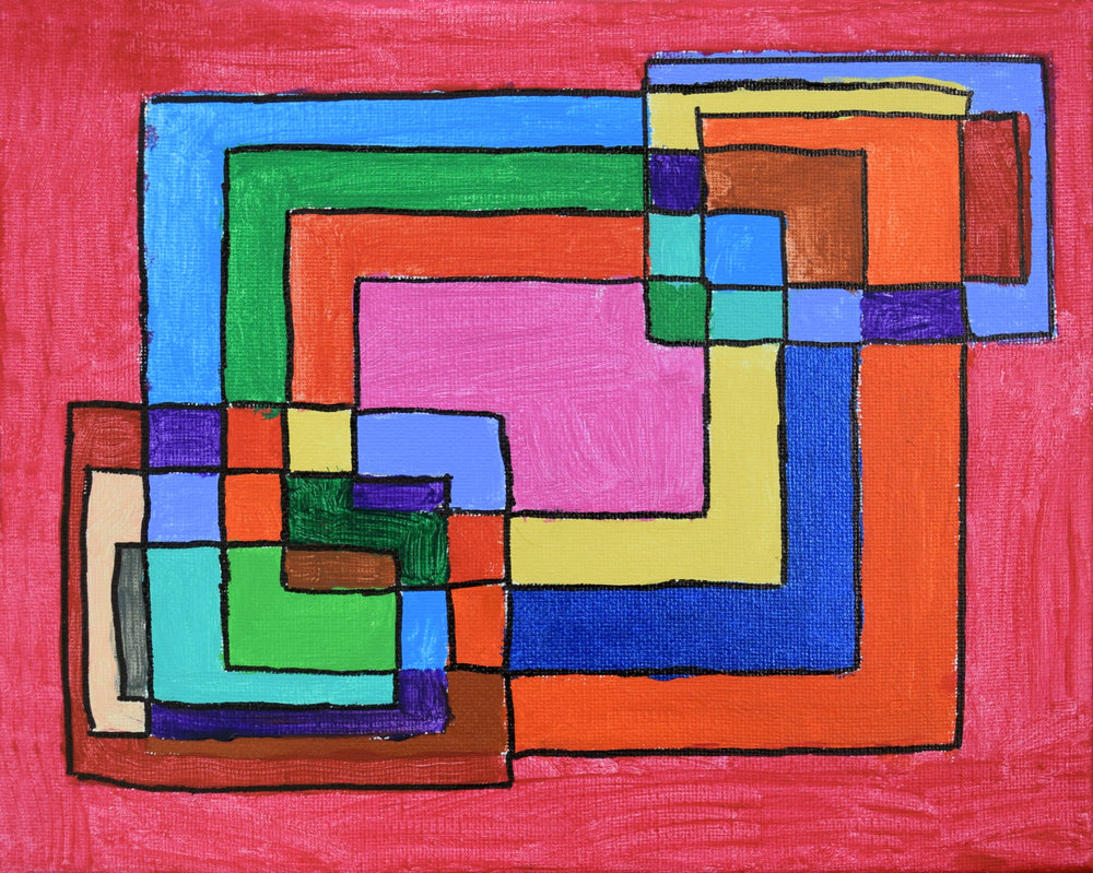 Overlapping Squares Jenna Helms Acrylic on canvas Prints 8x10 or 11x17 $15.00