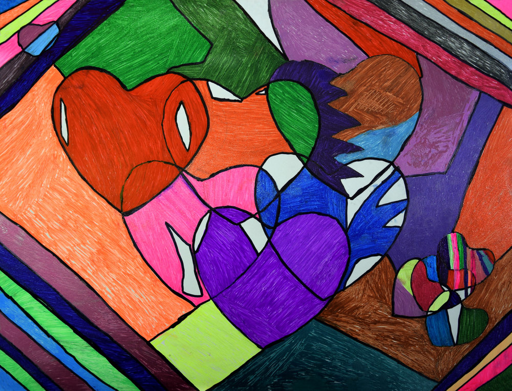 Hearts of Many Colors Susan Nevers Acrylic on canvas Prints 8x10, 11x14, 13x16 $35.00