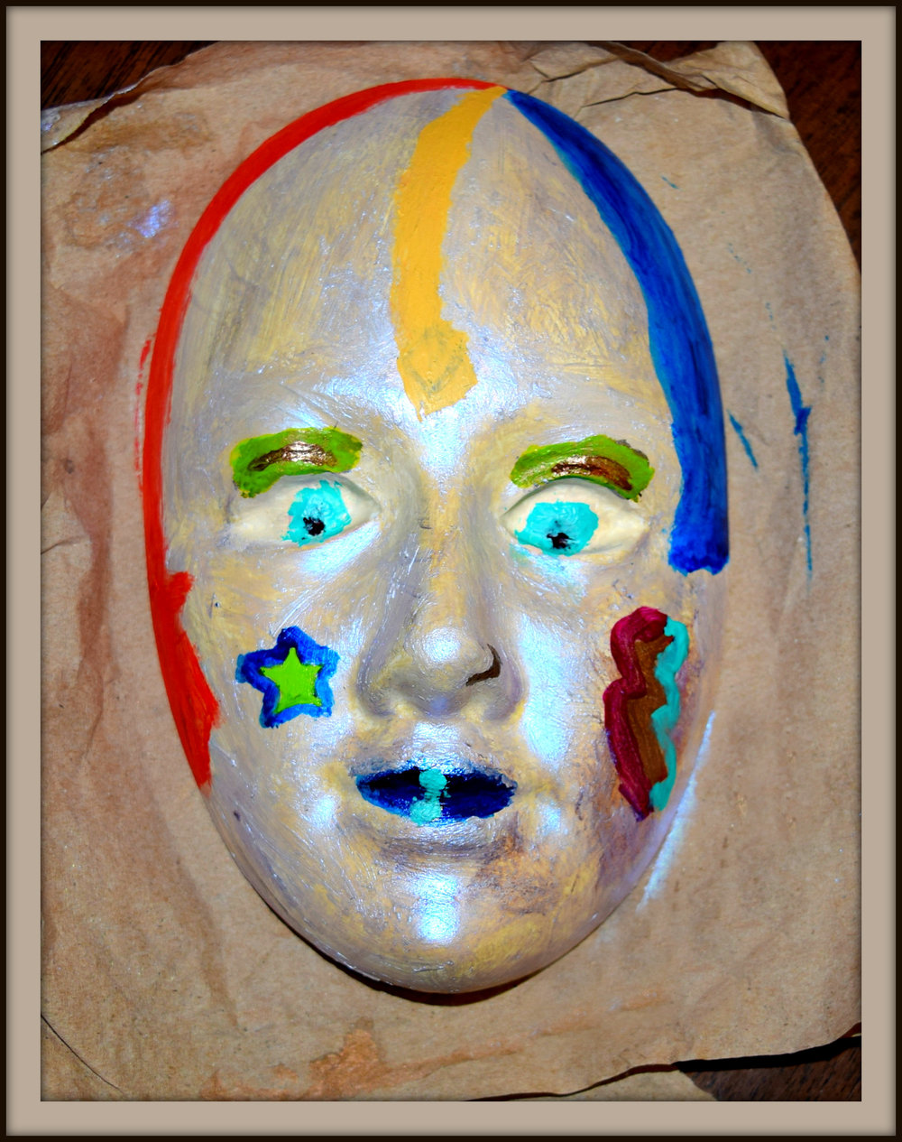 Theatre Mask Susan Nevers Paint on plaster of Paris