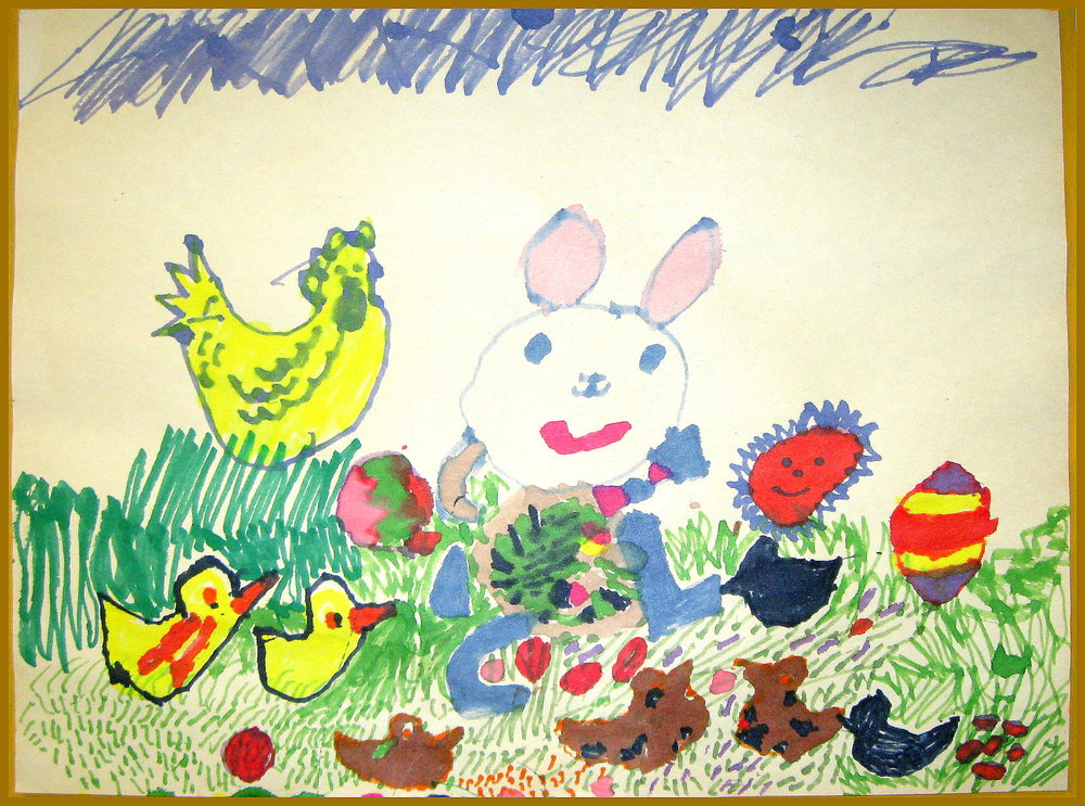 Easter Time Vivian Hahn   date unknown Color Pencil & Marker on Paper  prints $20/originals $50