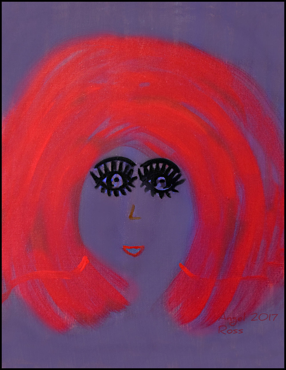 "Magenta Hair Angel Ross Acrylic on canvas, 9 x 15"" Photo Print $30"