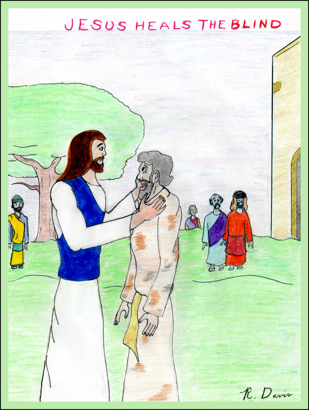 Jesus Heals the Blind Ron Davis 2017 Pencil and marker on paper Print $20