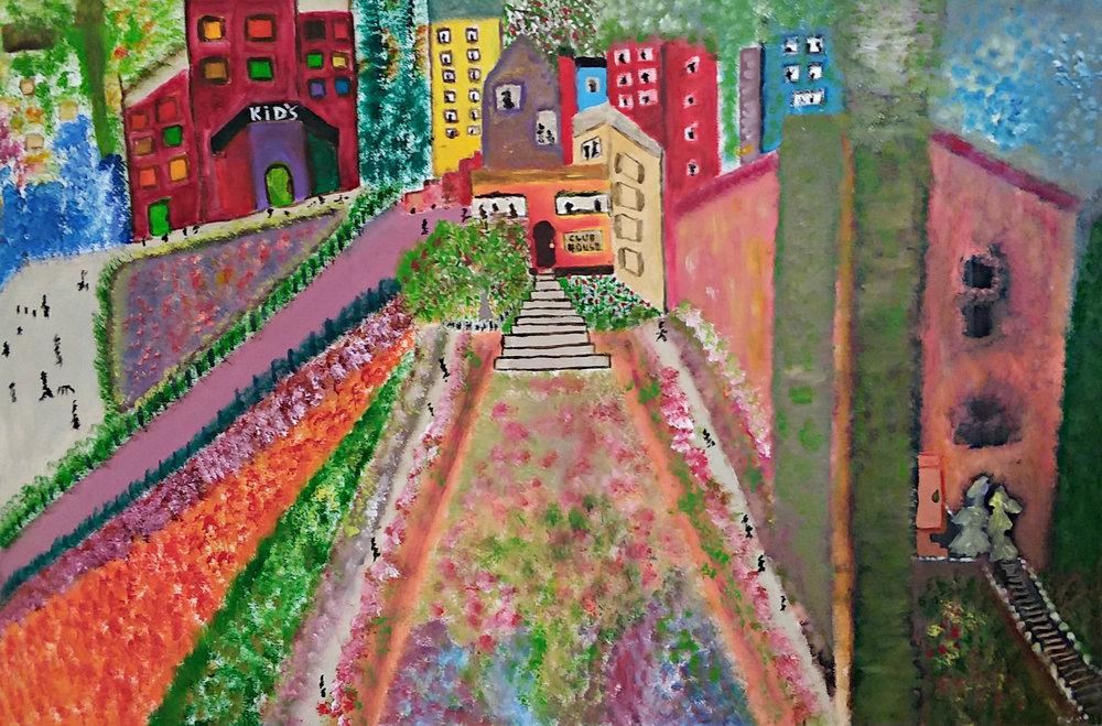 Urban Garden Oil/Touch of Acrylic 30x40 (8/2017) $900