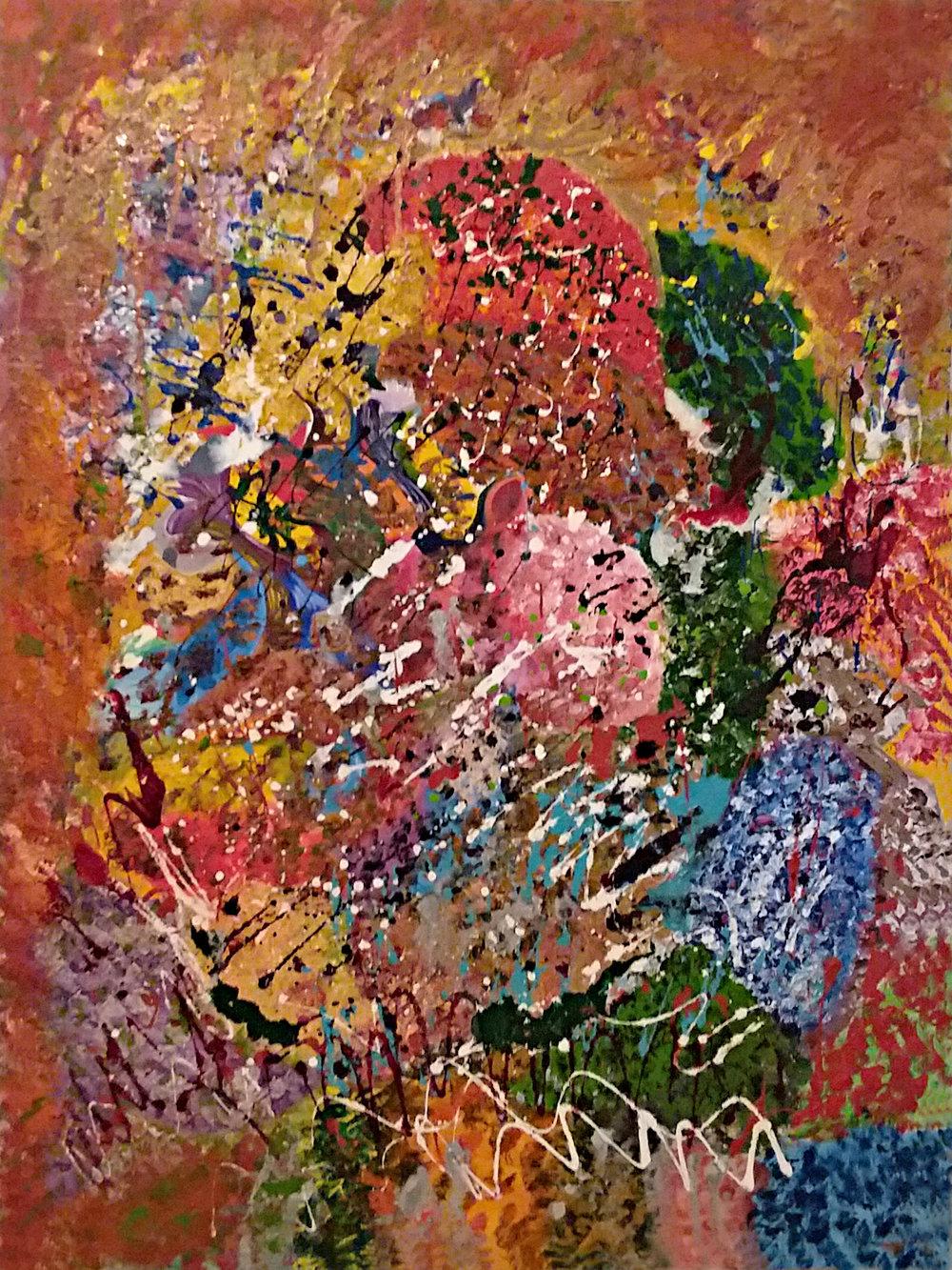 Mardi Gras Oil and Enamel on Canvas 30x40 - (05/2018) $1200