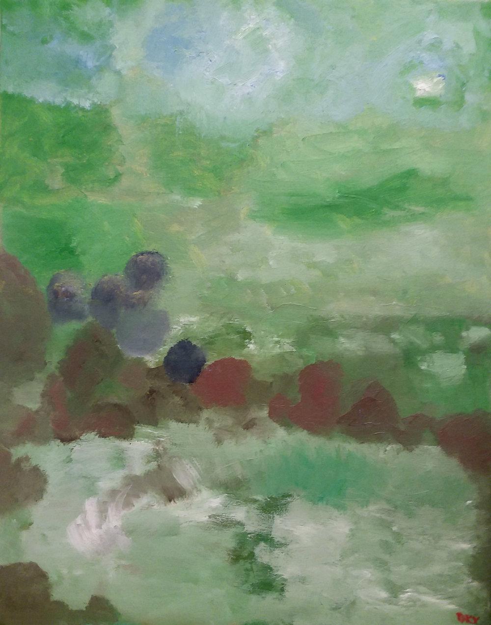 Green Sky Oil on Canvas 16x20 (5/2018) $500