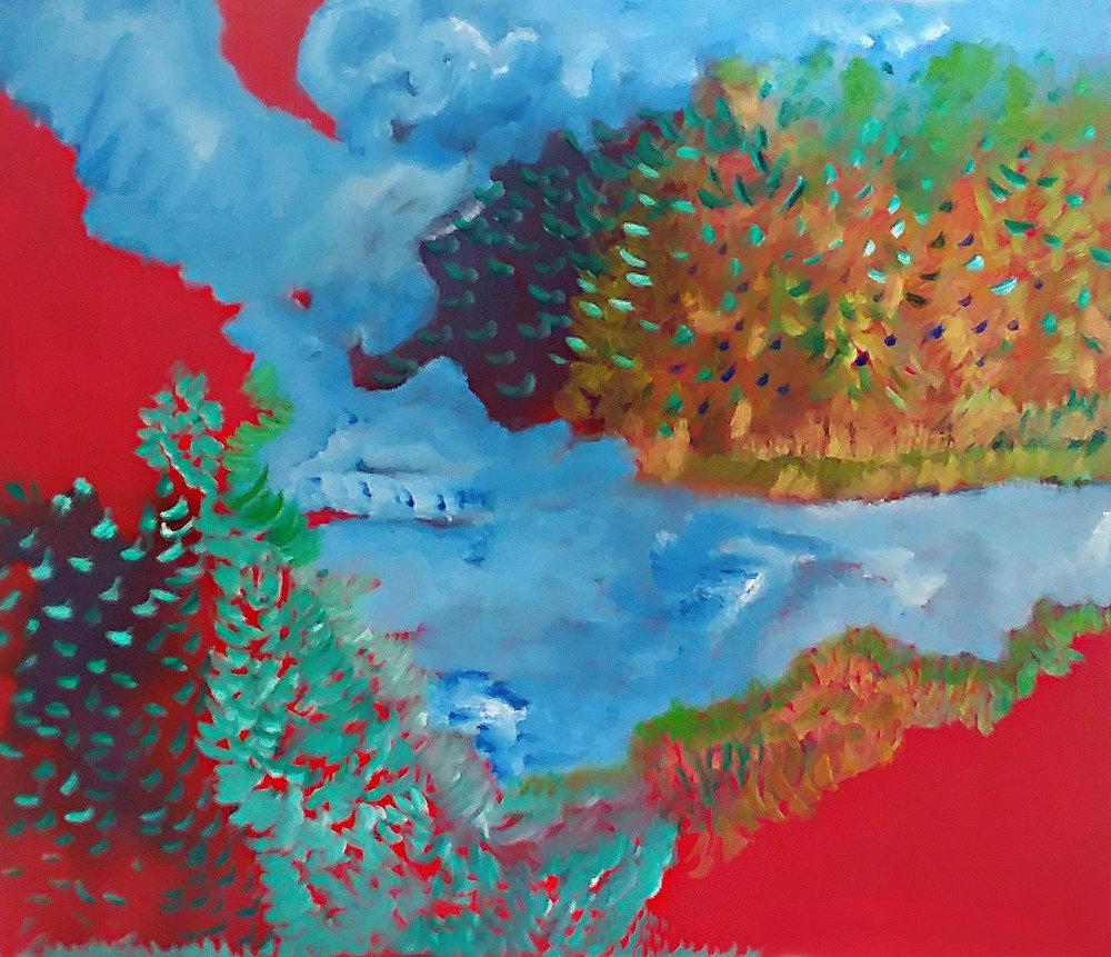 Stream Under Water Oil on Canvas 30x40 (07/2018) $1200