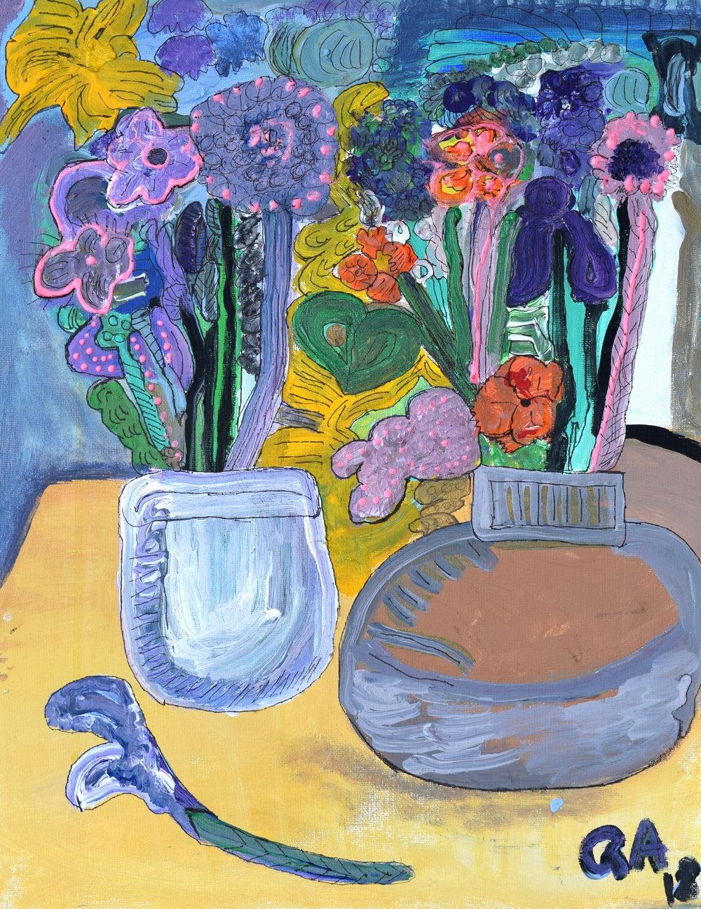 Floral Still Life Rachael Alhassan 2018 Acrylic on canvas NFS, $50