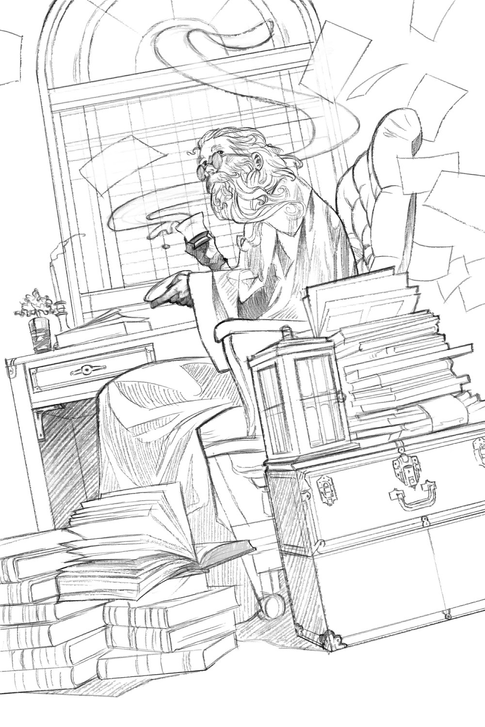 Sketchin' the sketch with some hilarious references. With my face to the floor, I snapped photos of my sister sitting at her desk in front of a window for the right light. I also got to use a new set of encyclopedias that I picked out specifically for occasions like this.
