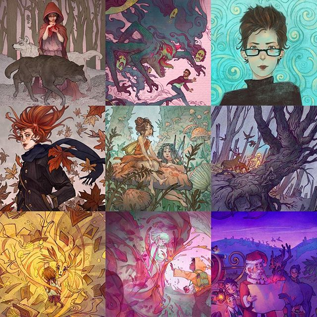 My #2017bestnine pieces. Had some fun with color this year! What will 2018 bring?  #illustration #kidlitart #kidlit #art #artist #artistofinstagram #childrensillustration #best #progress #fun #fairy #fairytale #happynewyear