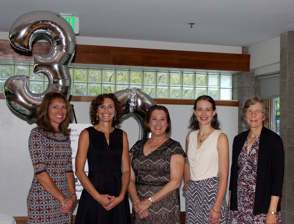 Celebrating 30 years of Good Beginnings' service to the Upper Valley (L-R) Denise Gariepy, Program Director; Karen Morton, Executive Director; Nancy Johnson, Board Secretary & Volunteer, Jewelia Chevalier, Board Member & Volunteer, and Sally Wood, Board Member & Volunteer