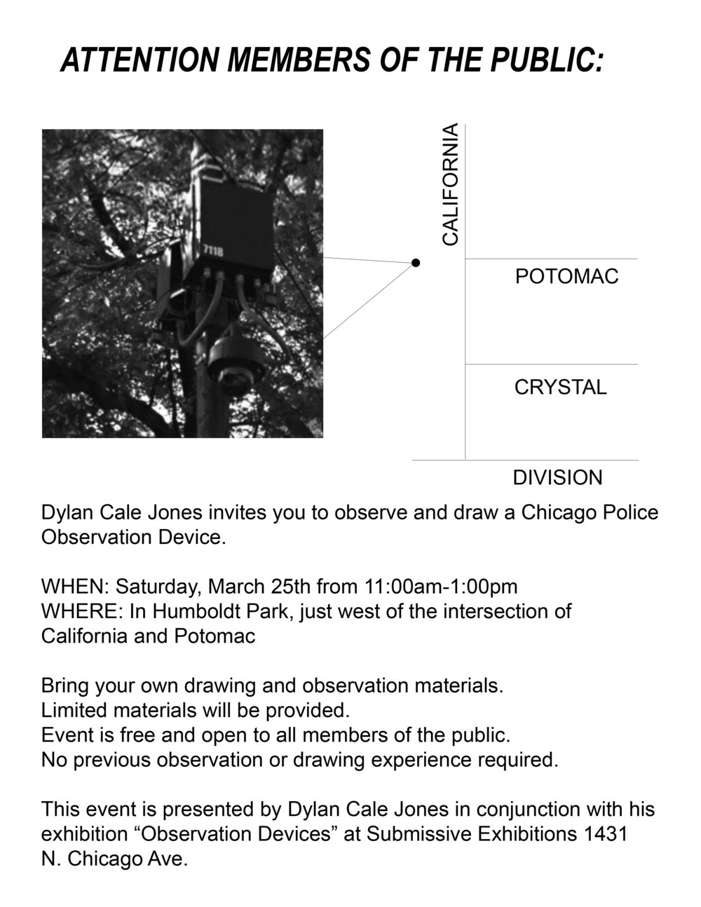 Flyer for Observational Drawing Event