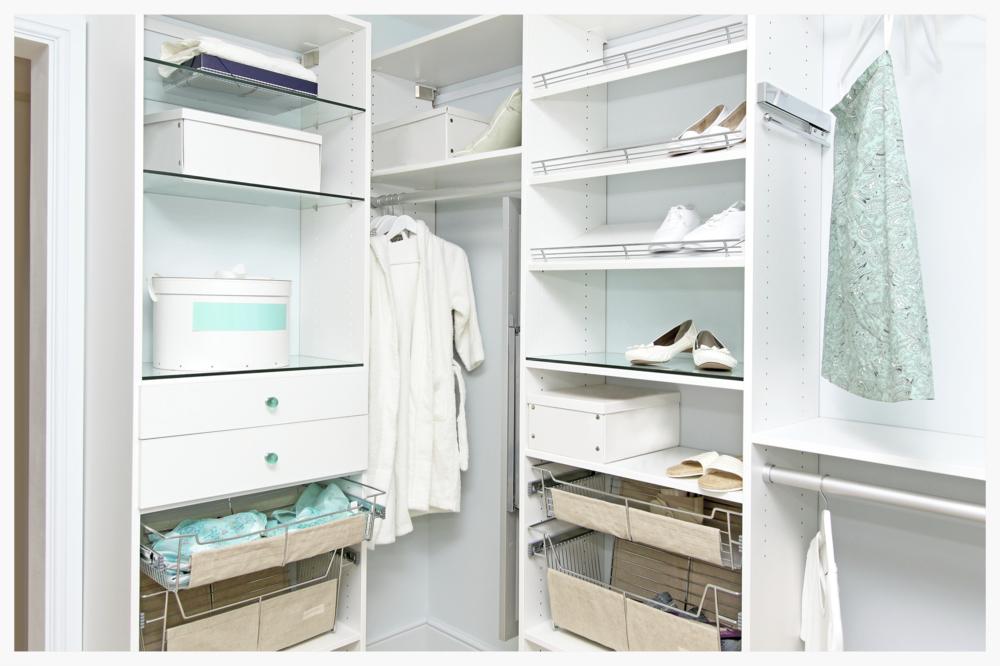 Organized clean white closet