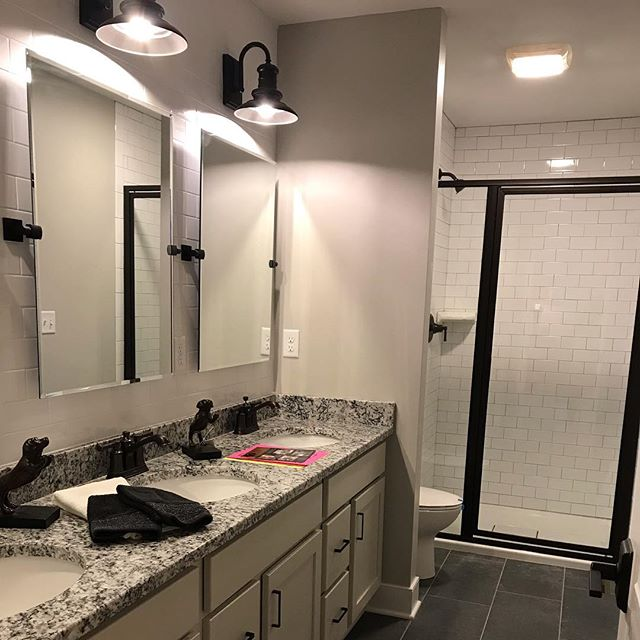 Custom bathroom for Cordelle Custom Homes finished by @romatileandmarble and @kitchenexpressinc, selections by @susan_clarkinteriors, styled by Freeman Interiors.  What a team! Thanks everyone!! . . . . . #cnyparadeofhomes2018 #cordellecustomhomes #cnyparadeofhomes #jamesvilleny #cnyrealestate #custombathroom #syracuseny #syracuseny #paradeofhomes