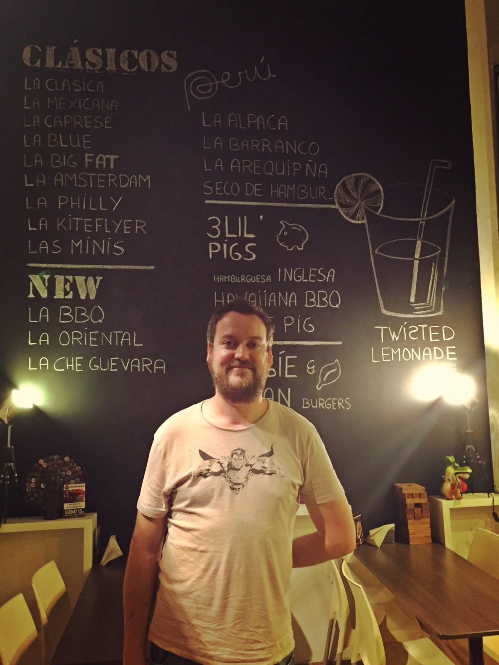 Jimmy McManners in front of his delicious menu at Twist.