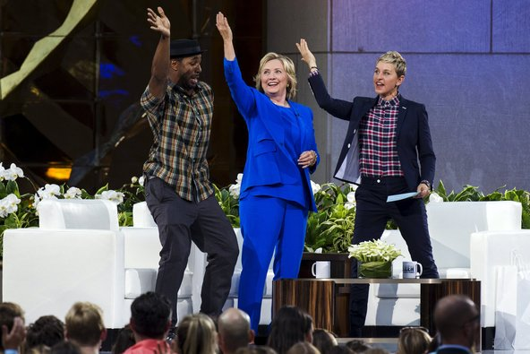Mrs. Clinton dancing with D.J. Stephen (tWitch) and Ellen DeGeneres.
