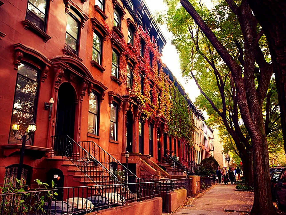 Brownstone buildings in Clinton Hill
