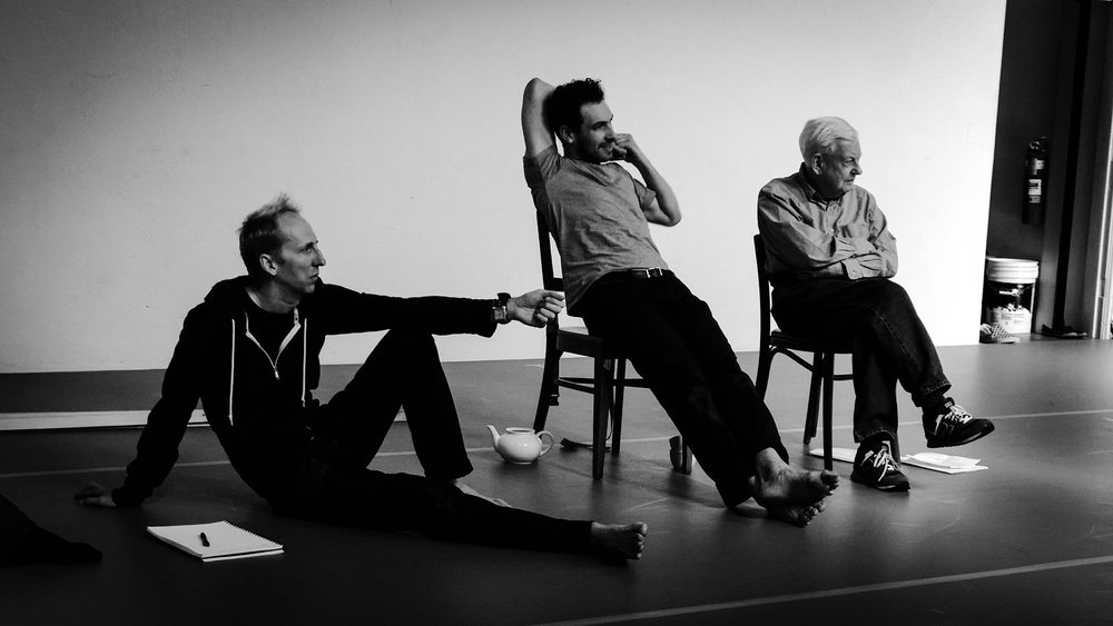 Pepper Fajans (middle) with David Vaughan (right) - former archivist for Merce Cunningham and  Christ Green , Brooklyn-based designer, composer, and puppeteer. (Source:  Facebook )