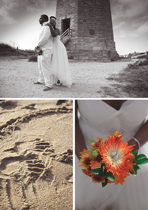 Hand prints in the sand with their rings to symbolize their vows to one another. So sweet!