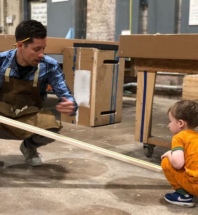 Rainy day and empty @atelier.art shop means family bookshelf building day. 3.5 years old and can read a tape measure 📐📏... You'll be alright no matter what little man #onwardbo 📸 @jjonesberg #woodshop