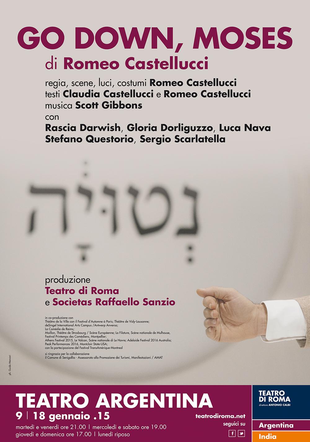 Romeo Castellucci   Go Down, Moses   Socìetas Raffaello Sanzio, directed by Romeo Castellucci   Poster   Teatro di Roma, 2014
