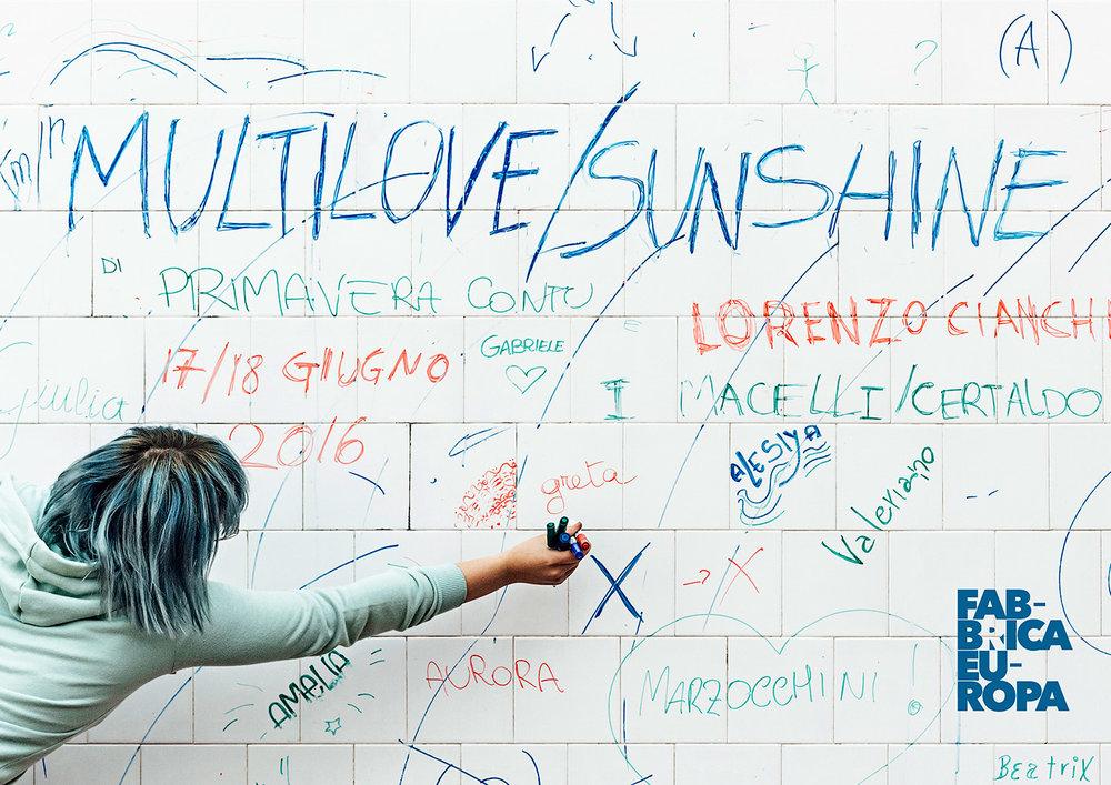 Lorenzo Cianchi, Primavera Contu | Multilove/Sunshine   I Macelli No Theatre   Postcard   Graphic Design Guido Mencari  Festival Fabbrica Europa,2016