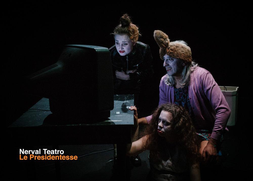 Nerval Teatro | Le Presidentesse    Postcard   Graphic Design Guido Mencari  2012