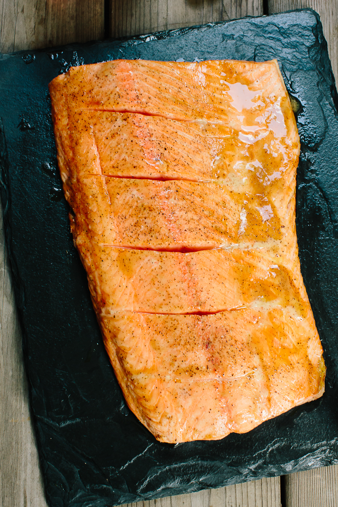 Grilled Salmon with Smoked Maple Bourbon Glaze