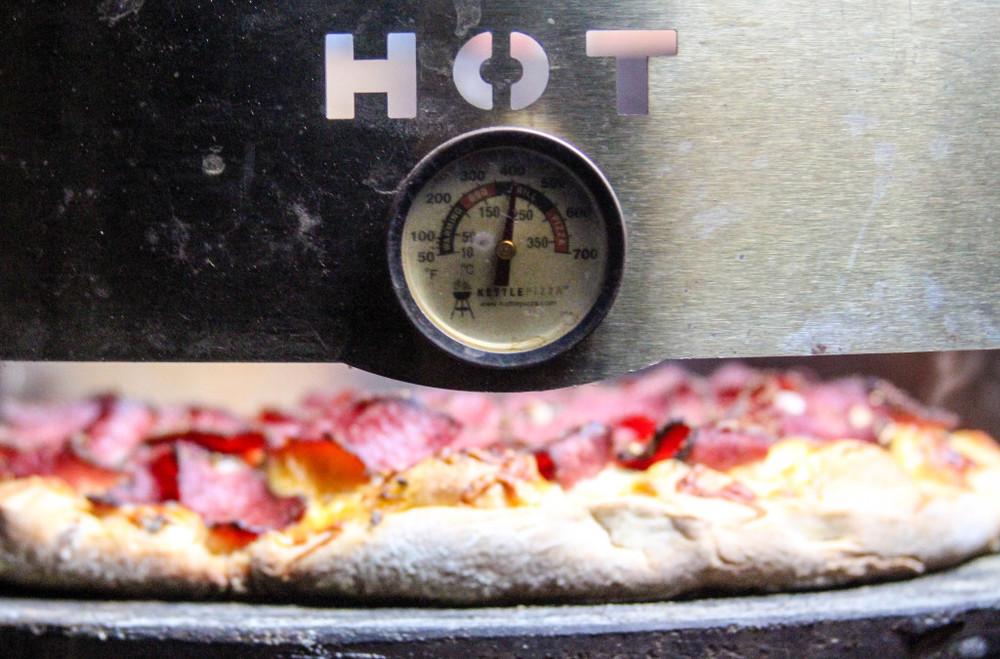 Grilling a Reuben Pizza