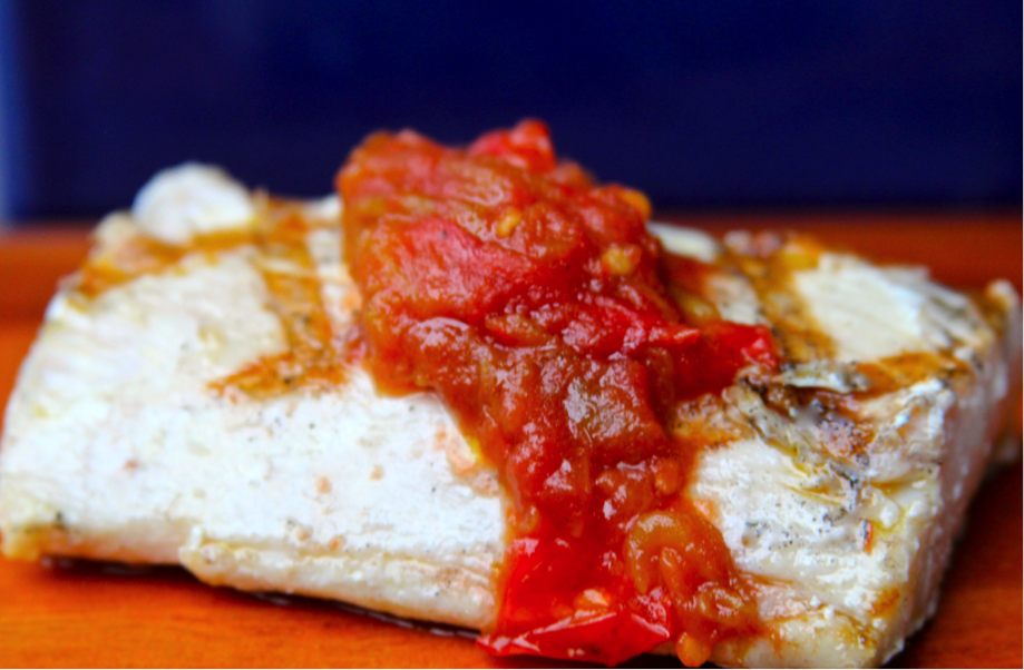 GRilled Mahi Mahi with Charred Tomato Relish