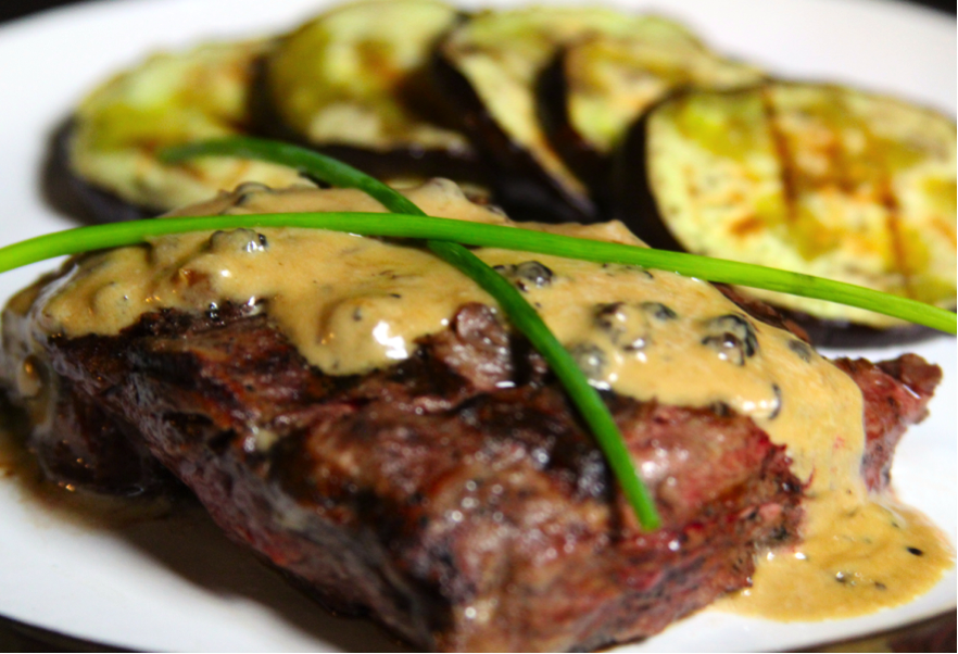 Grilled Cap of Ribeye with Peppercorn Cream Sauce