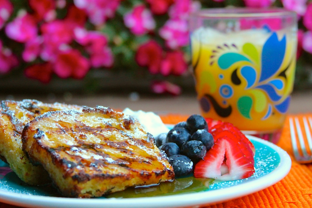 Grilled Poundcake French Toast with Smoked Maple Syrup