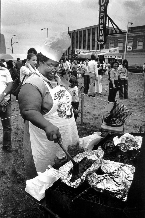 Bessie Louise Cathey, winner of the first Memphis in May BBQ Contest