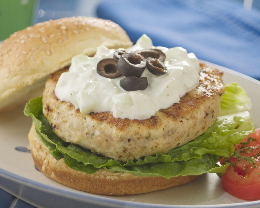 Greek Bistro Burger with Cucumber Yogurt Sauce