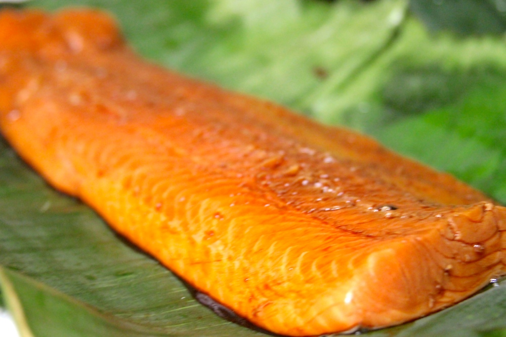 Lay Salmon on Banana Leaves