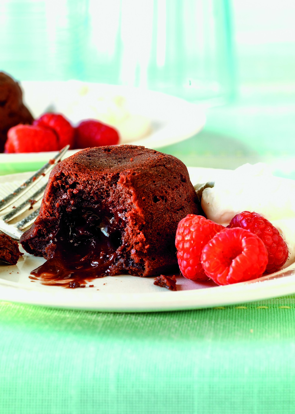 Warm Molten Lava Cake with Fresh Berries
