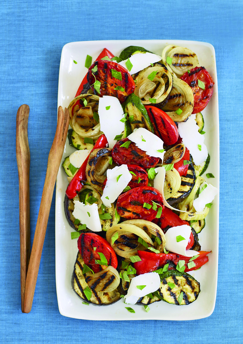 Grilled Summer Vegetables with Parmesan; Photo Credit James Baigrie