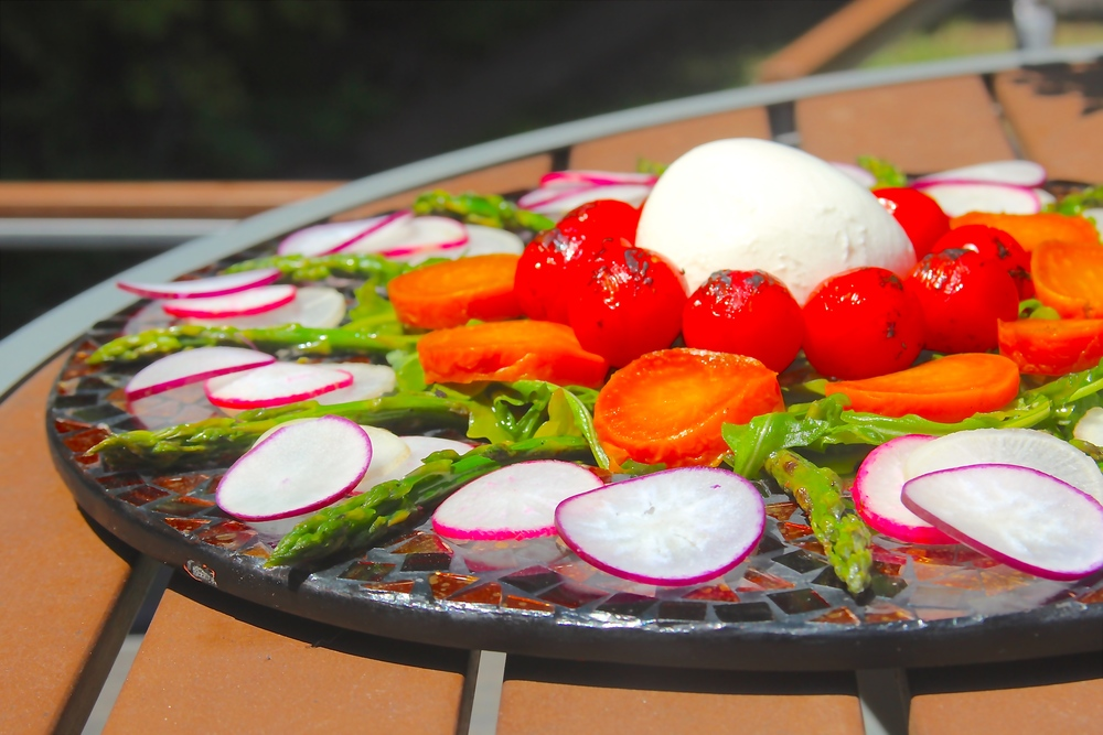 Grilled Asparagus and Beet Salad with Burrata Cheese