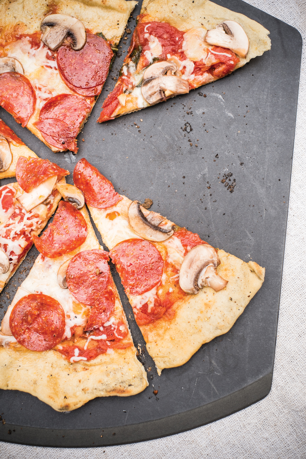 Classic Grilled Pepperoni and Mushroom Pizza, Photo by Steve Legato