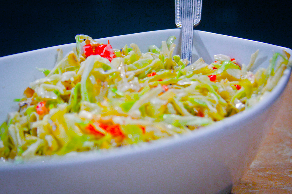 Grilled Coleslaw with Charred Red Pepper and Pickled Ginger