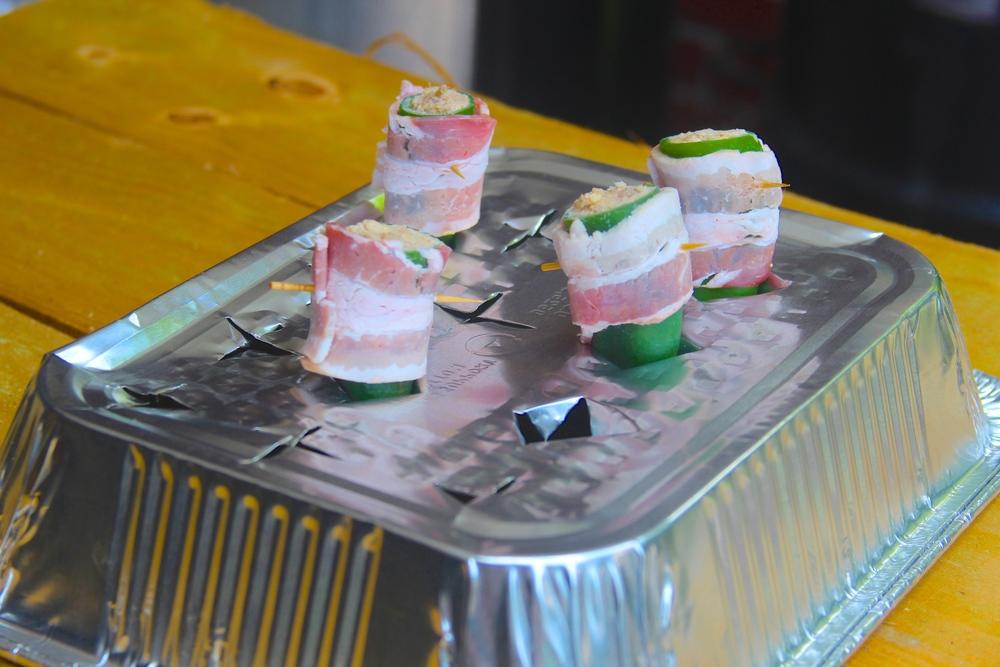 Turn an aluminum pan into a jalapeno rack