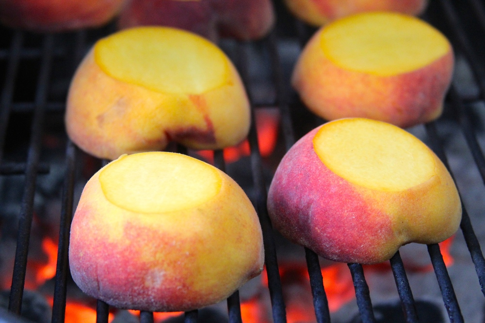 Grill Peaches Cut Side Down