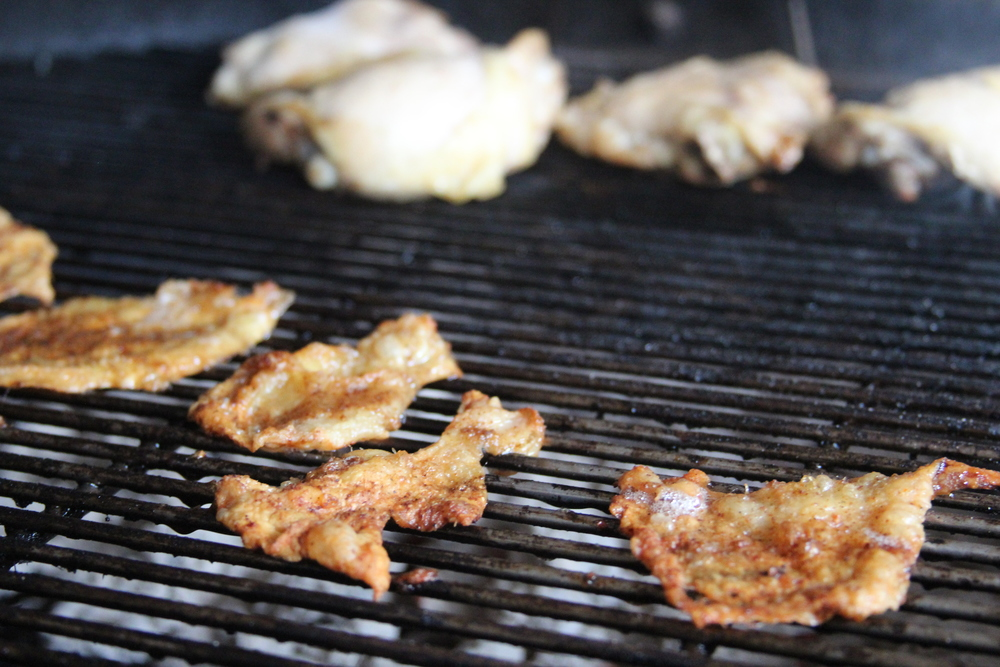 Grilling Chicken Skin and Chicken Thighs