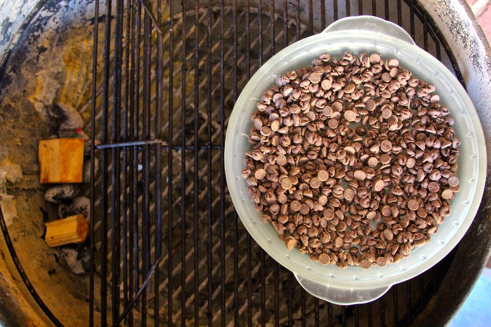 Place Chocolate Chips on the Grill Away from the Heat Source