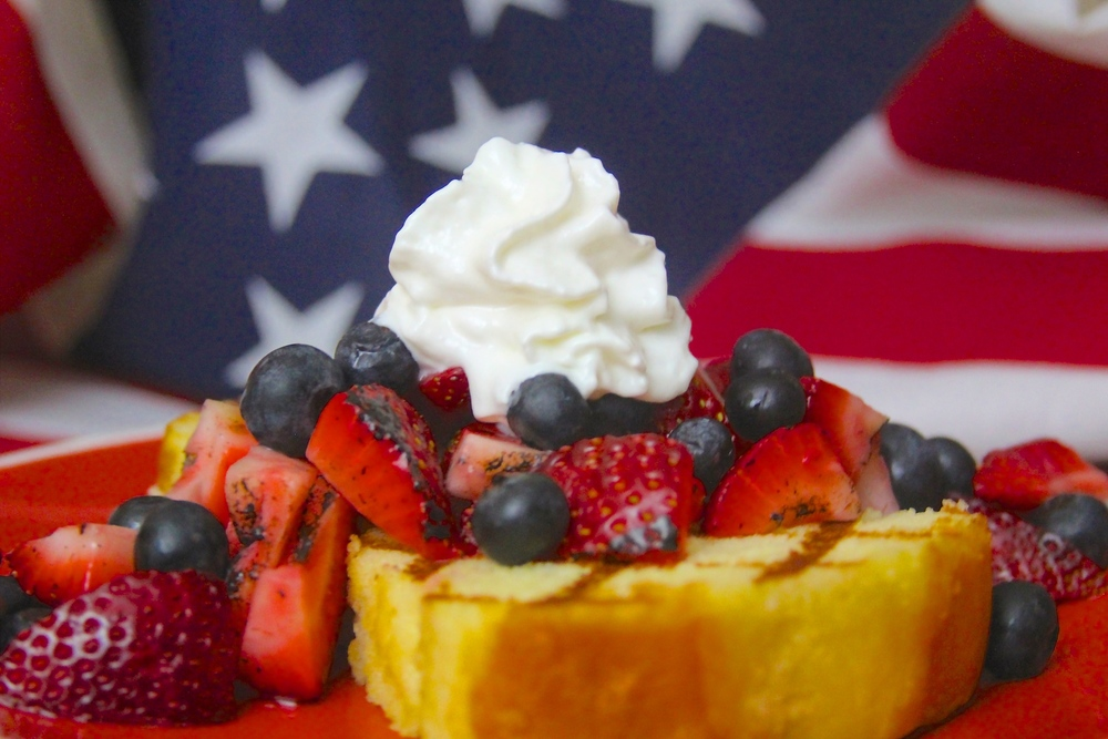 Grilled Poundcake with Fresh Berries and Whipped Cream