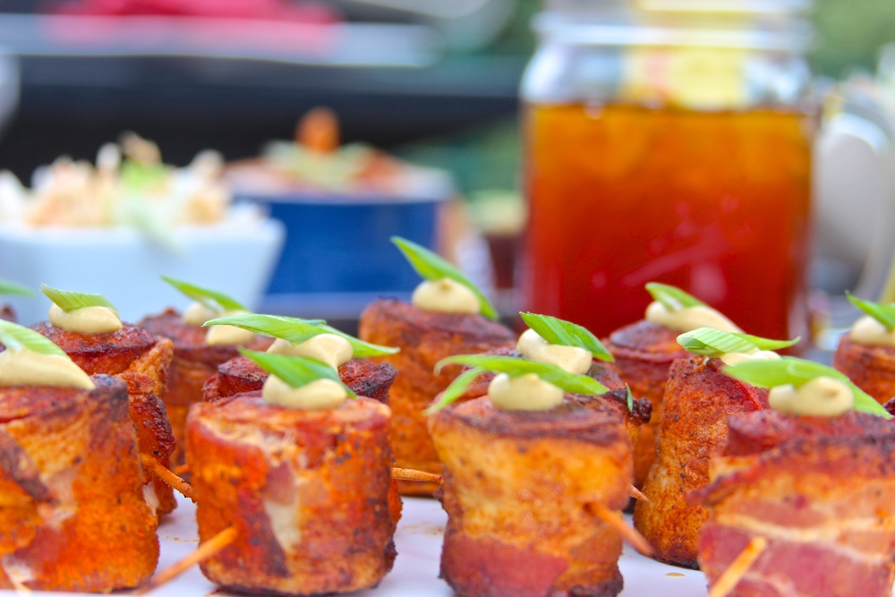 Grilled Bacon Wrapped Smoked Sausage Appetizers
