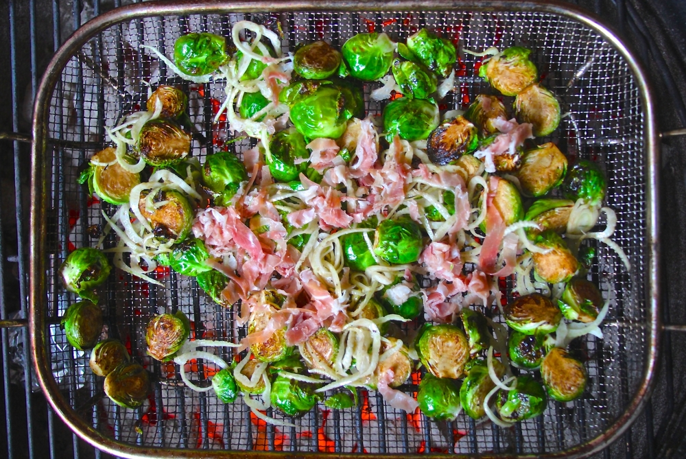 Grilled Brussels Sprouts with Fennel and Serrano Ham